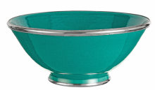 Moroccan Ceramic Bowl Jade Green with Silver Edge Large Handmade 30 cm / 11.8""